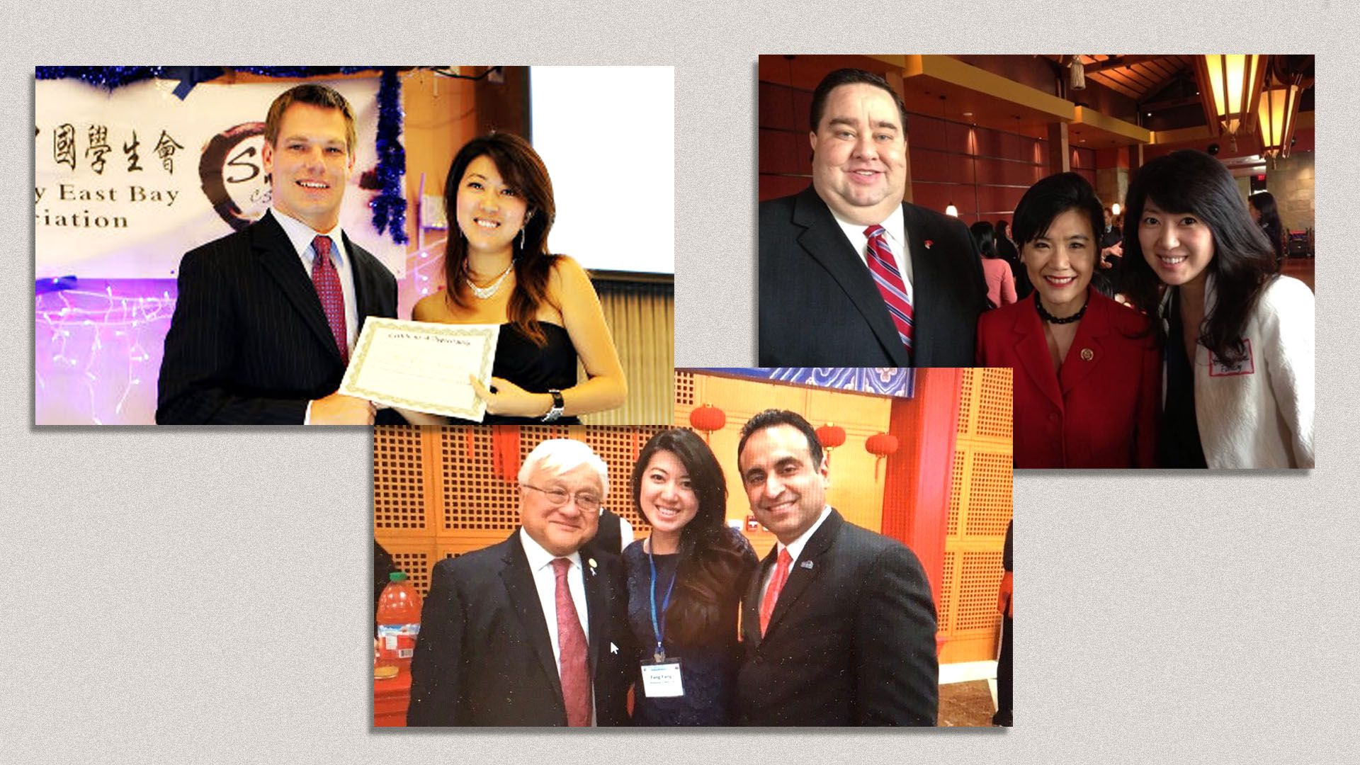 Montage of three images of Fang with Bay Area politicians