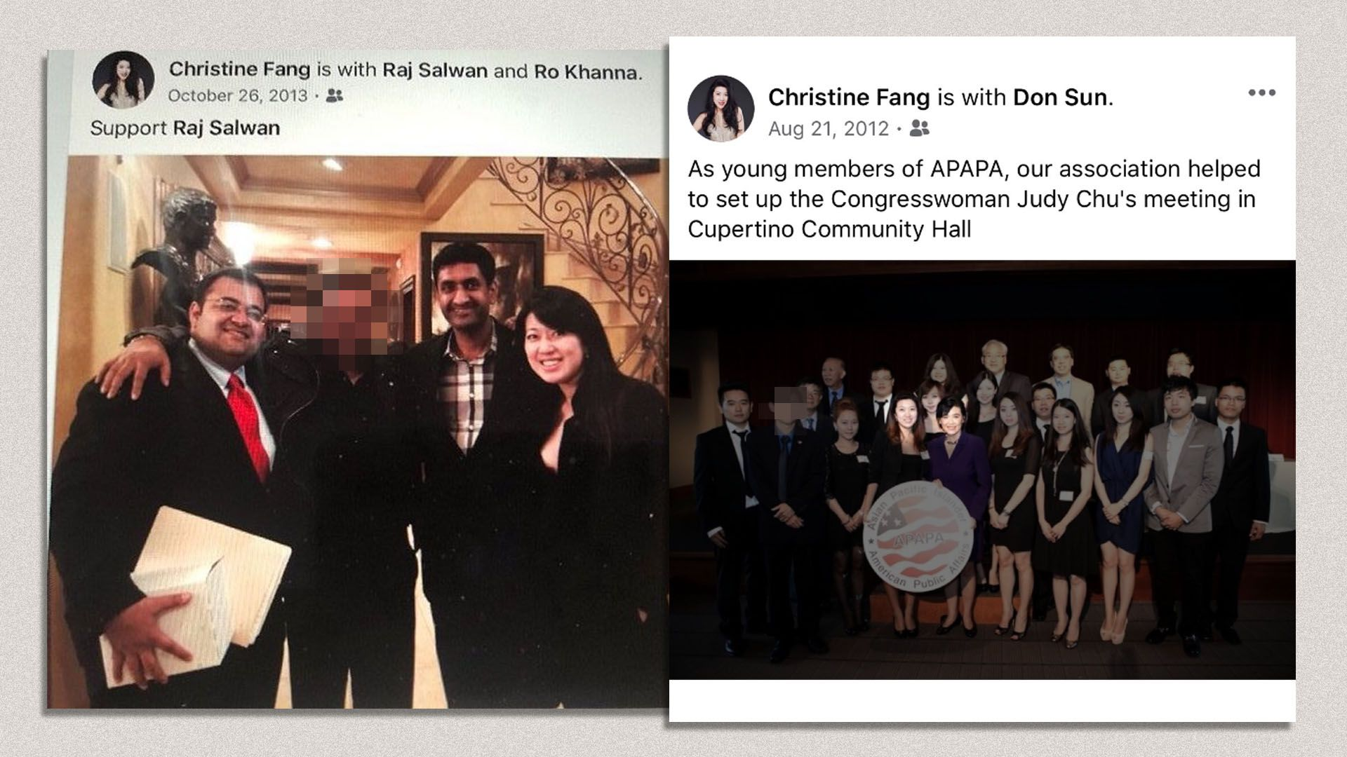 Photo of Fang with Salwan and Khanna and of Fang with Chu and APAPA