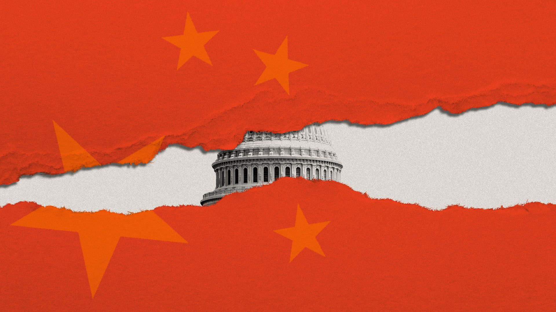 Illustration of US Capitol Building through torn China flag
