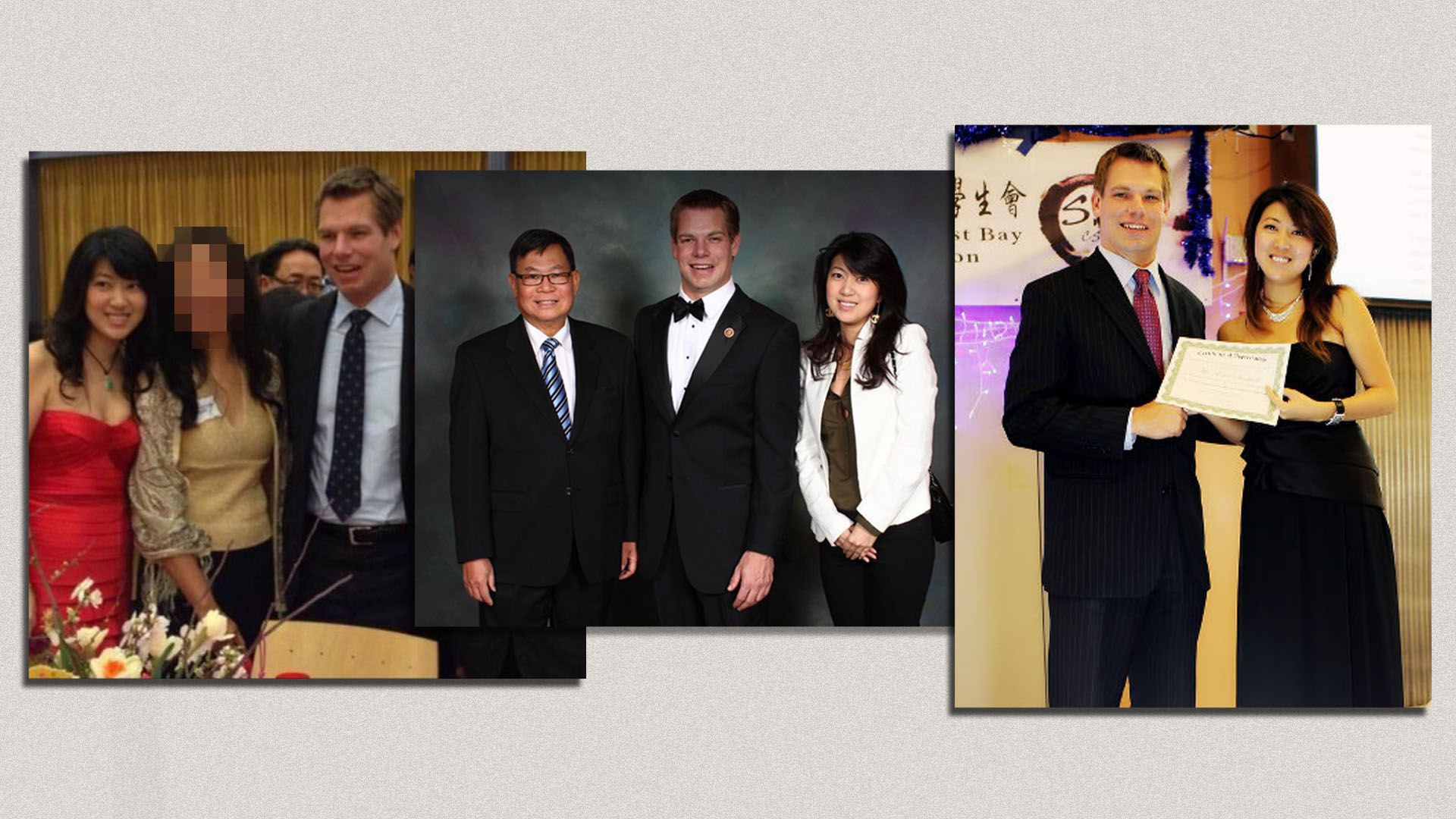 Three photos of Swalwell and Fang at events
