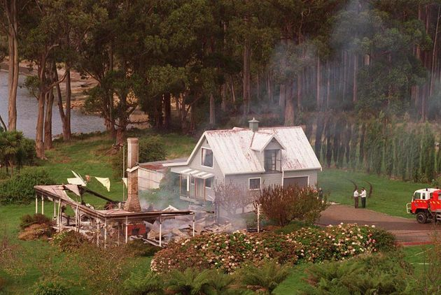 The remains of theSeascape Guesthouse in Hobart on April 29, 1996, the home where Bryant engaged...
