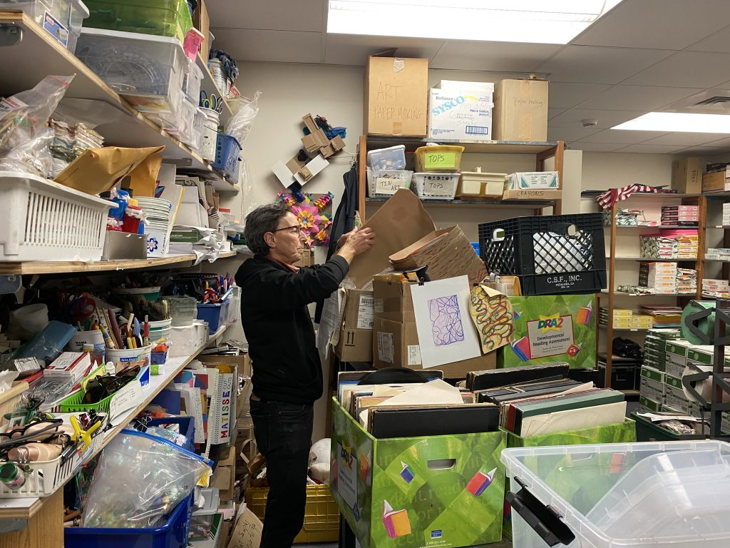 Ellen Oppenheimer in the art supply closet at Peralta Elementary. Photo by Sarah Cascone.