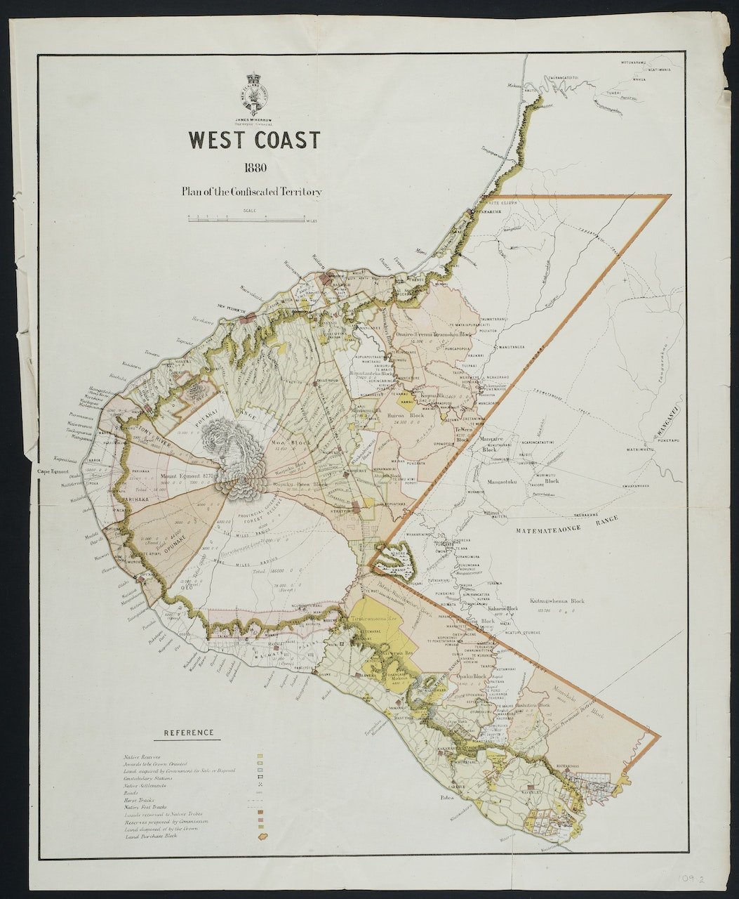 1880 map of the Taranaki coast showing the area of'confiscated' territory