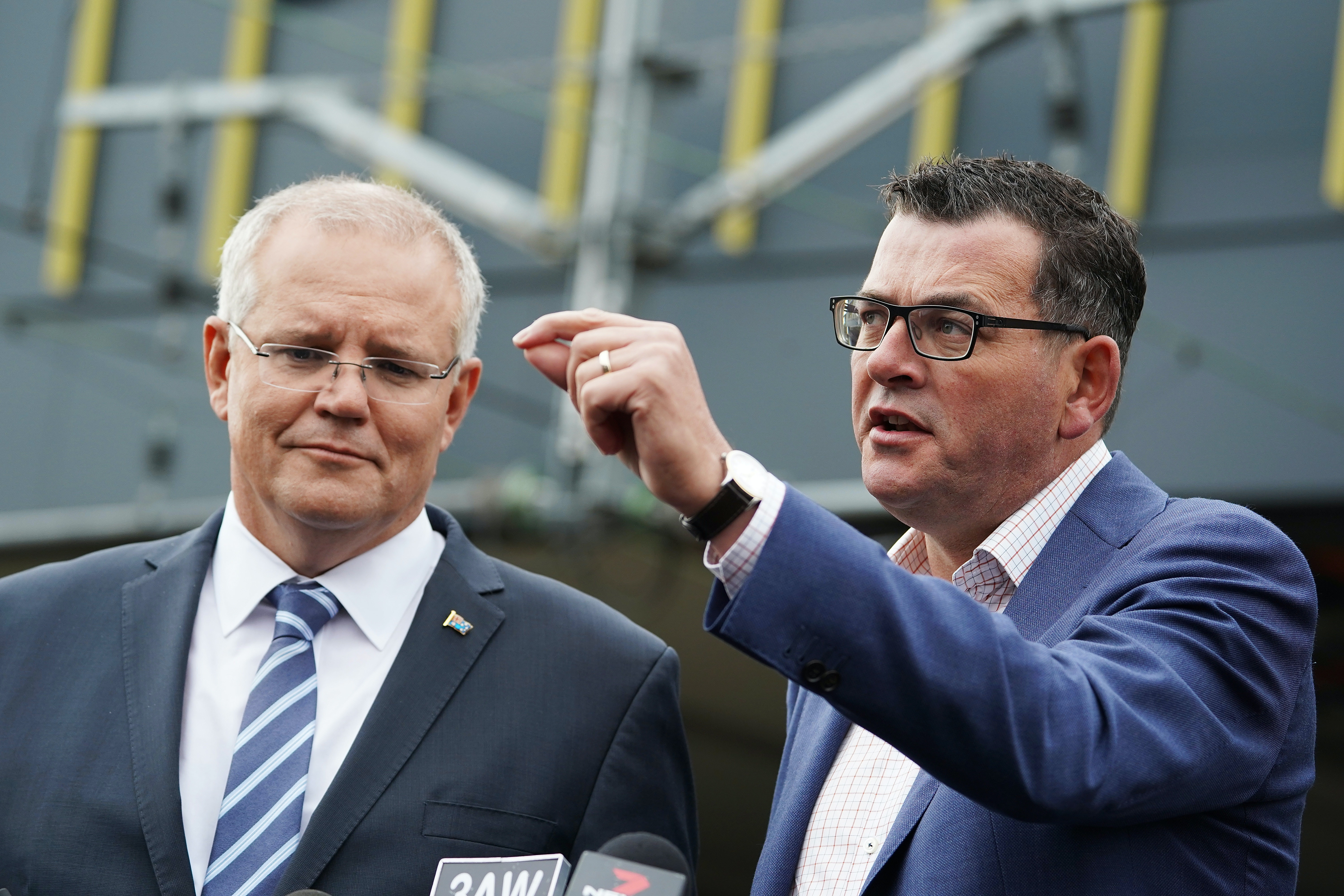 Prime Minister Scott Morrison and Victorian Premier Daniel Andrews at press conference in March 2018 announce a combined $10 billion in funding to build a rail link to Melbourne Airport.