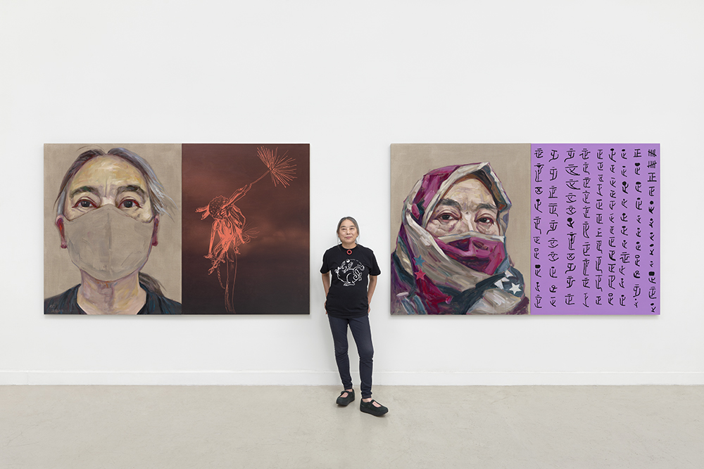 Hung Liu in her studio with Rat Year (2020). Photo by John Janca, courtesy of the National Portrait Gallery, Washington, D.C. ©Hung Liu.