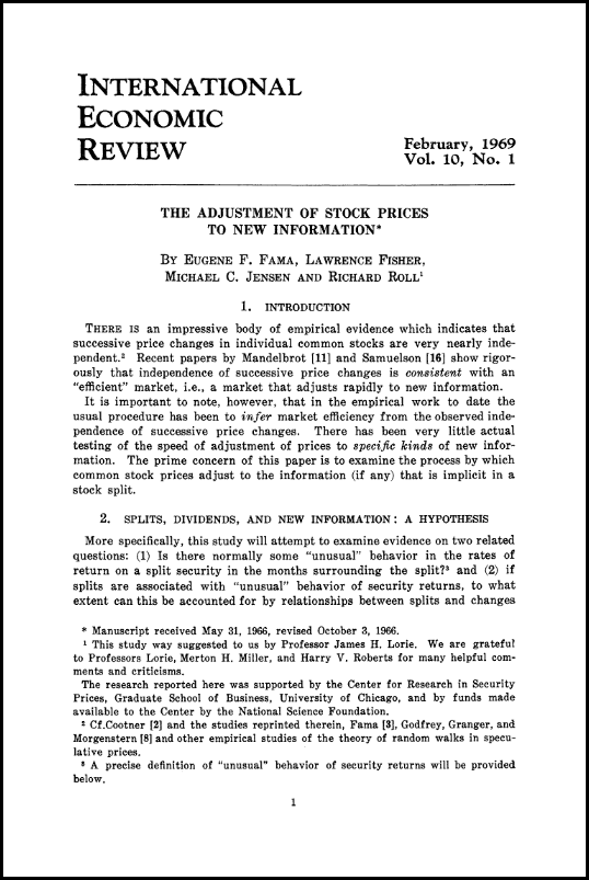 Eugene Fama 1969 paper'The Adjustment of Stock Prices to New Information'.